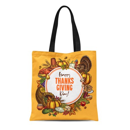 ASHLEIGH Canvas Bag Resuable Tote Grocery Shopping Bags Thanksgiving Day of Traditional Roasted Turkey and Fruit Pie Pumpkin Corn Tote