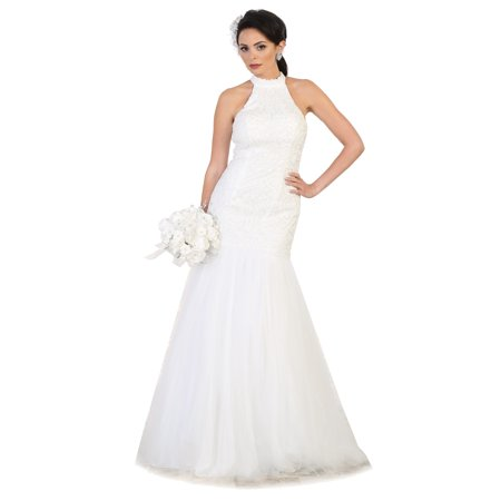 SALE! SIMPLE HALTER BRIDAL EVENING GOWN