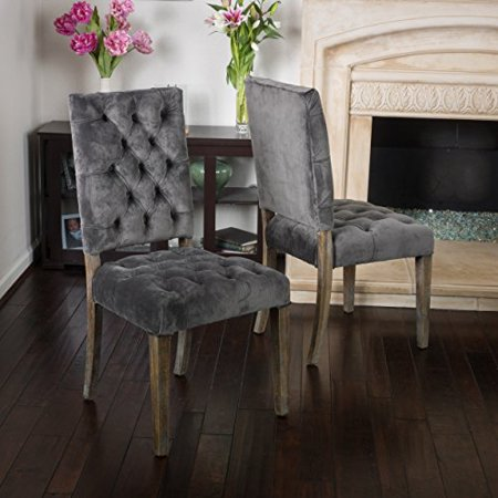 (Rustic Modern Velvet Upholstery Tufted High Back Set of 2 Accent Dining Chairs with Oak Wood Legs - Includes Modhaus Living Pen (Gray))