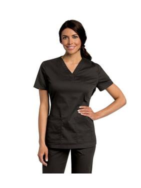 Landau All Day Women's Mechanical Stretch Two Pocket V-Neck Scrub Top, Style 4143