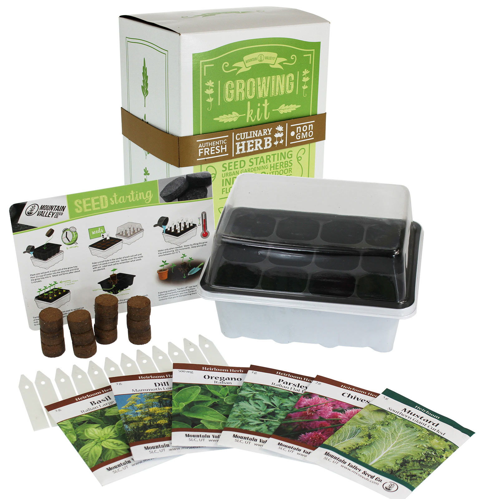 Indoor Culinary Herb Garden Starter   Basic Kit   6 Non GMO Varieties   Grow
