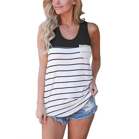 Empire Bodice Camisole (Lace Pocketd Striped Women Summer Casual Camisole Tank Top)