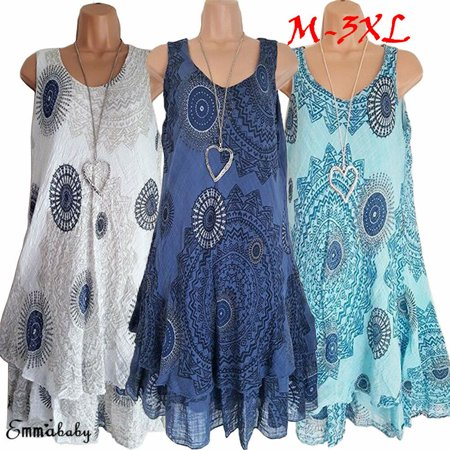 Multitrust Women Lady Floral Tank Sleeveless Short Mini Shift Dress Boho Summer Sundress