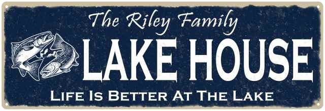 The RILEY Family Lake House Sign Metal Fishing Cabin Decor 106180101210