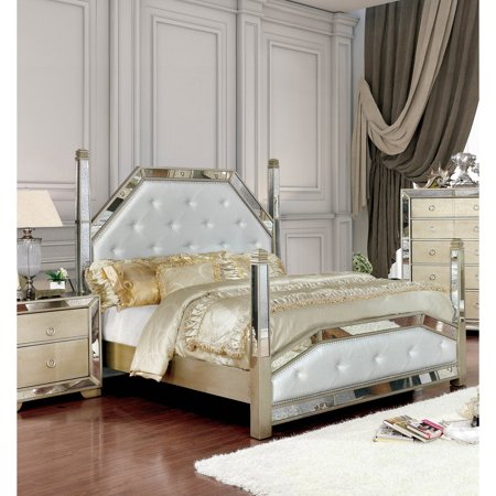 furniture of america maxine modern champagne 4 poster bed by foa walmart com