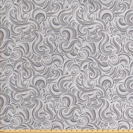 Grey Fabric by The Yard, Abstract Hand Drawn Curly Lines and Swirls in Grey Shades Retro Style Ornament of Waves, Decorative Fabric for Upholstery and Home Accents, by Ambesonne ()