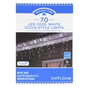 Holiday Time LED Cool White Icicle-Style Lights, 70 Count