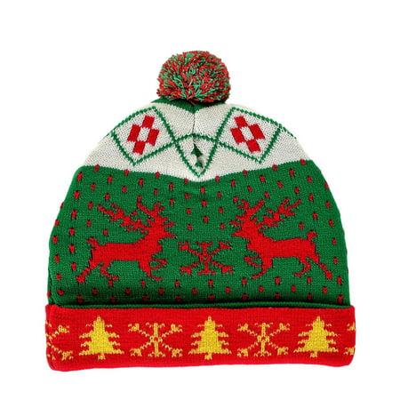 9c42f2da672a5 RWB Reindeer Ugly Christmas Beanie with Pom-pom One Size Hat Green -  Walmart.com