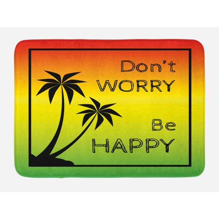 Rasta Bath Mat, Don't Worry Be Happy Music Quote of Iconic Singer Palms Ombre Colors, Non-Slip Plush Mat Bathroom Kitchen Laundry Room Decor, 29.5 X 17.5 Inches, Lime Green Yellow Black, Ambesonne
