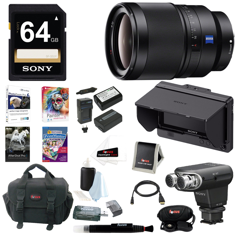 Sony 35mm f/1.4 ZA Lens, CLMFHD5 Portable LCD Monitor, XYST1M Stereo Mic Bundle ASONSEL35F14ZFHD5-XYST1MK1