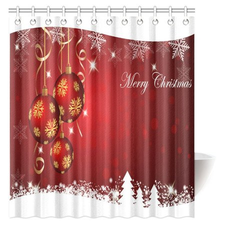 mypop christmas shower curtain snowflakes shaped christmas balls graphic classical festive fabric bathroom shower curtain - Christmas Shower Curtain Set