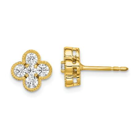Vs2 Lab - 14k Yellow Gold True Origin Lab Grown Diamond VS1/VS2, D E, Bloom Post Earrings