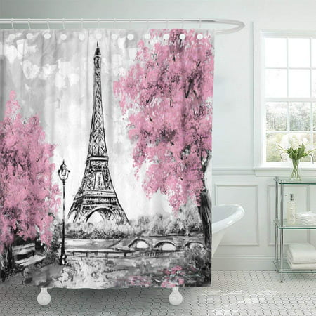 ARTJIA Oil Painting Paris European City Landscape France Eiffel Tower Black White and Pink Polyester Shower Curtain Bathroom Decor 66x72 inches - European Polished Shower