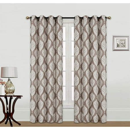 Chocolate Window Curtain (Kashi Home Scarlett 54x84 Inch Single Curtain Panel with Grommets, Chocolate )
