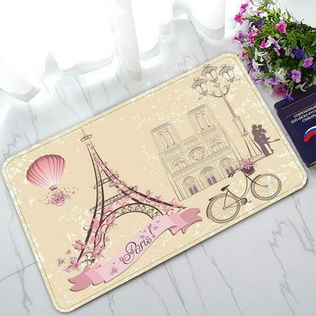PHFZK Paris Symbols and Landmarks Doormat, Franch Eiffel Tower City of Love Doormat Outdoors/Indoor Doormat Home Floor Mats Rugs Size 30x18 inches - Party City Welcome Home