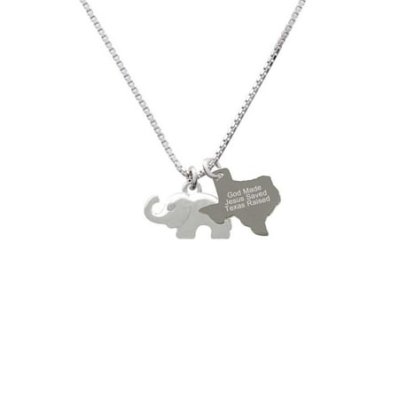 Elephant with Crystal Eyes - Engraved Texas Raised Necklace