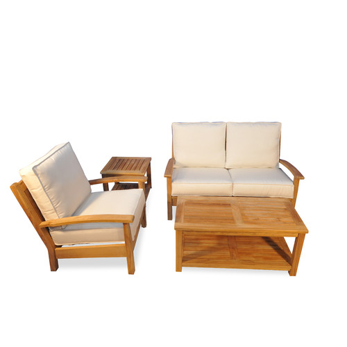 Regal Teak Teak 4 Piece Sunbrella Sofa Set with Cushions by Regal Teak