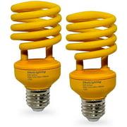 Sleeklighting 23 Watt Spiral CFL Yellow Fluorescent Light Bulb Medium Base UL-Listed (2 Pack)