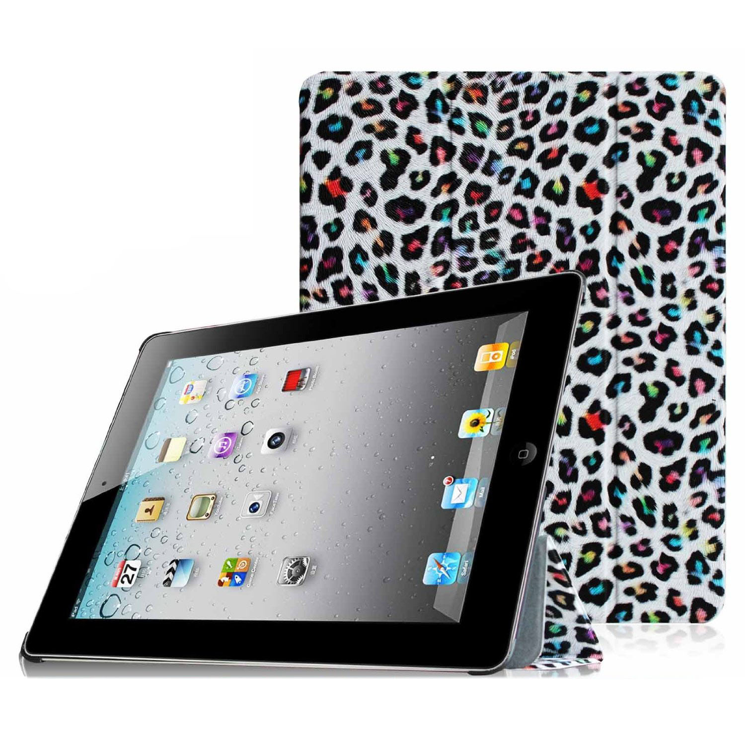 Fintie SmartShell Case for Apple iPad 4th Generation with Retina Display, iPad 3 & iPad 2, Leopard Rainbow
