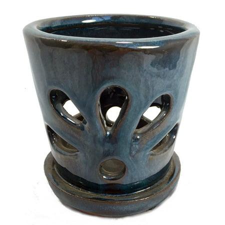 Mini Round Ceramic Orchid Pot & Saucer + Felt Feet -4 1/4