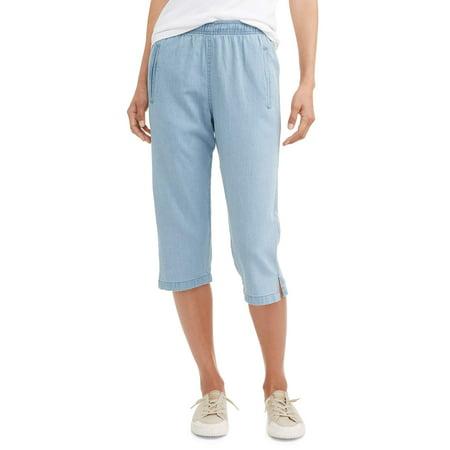 (Women's Pull On Denim Classic Capri Pants)