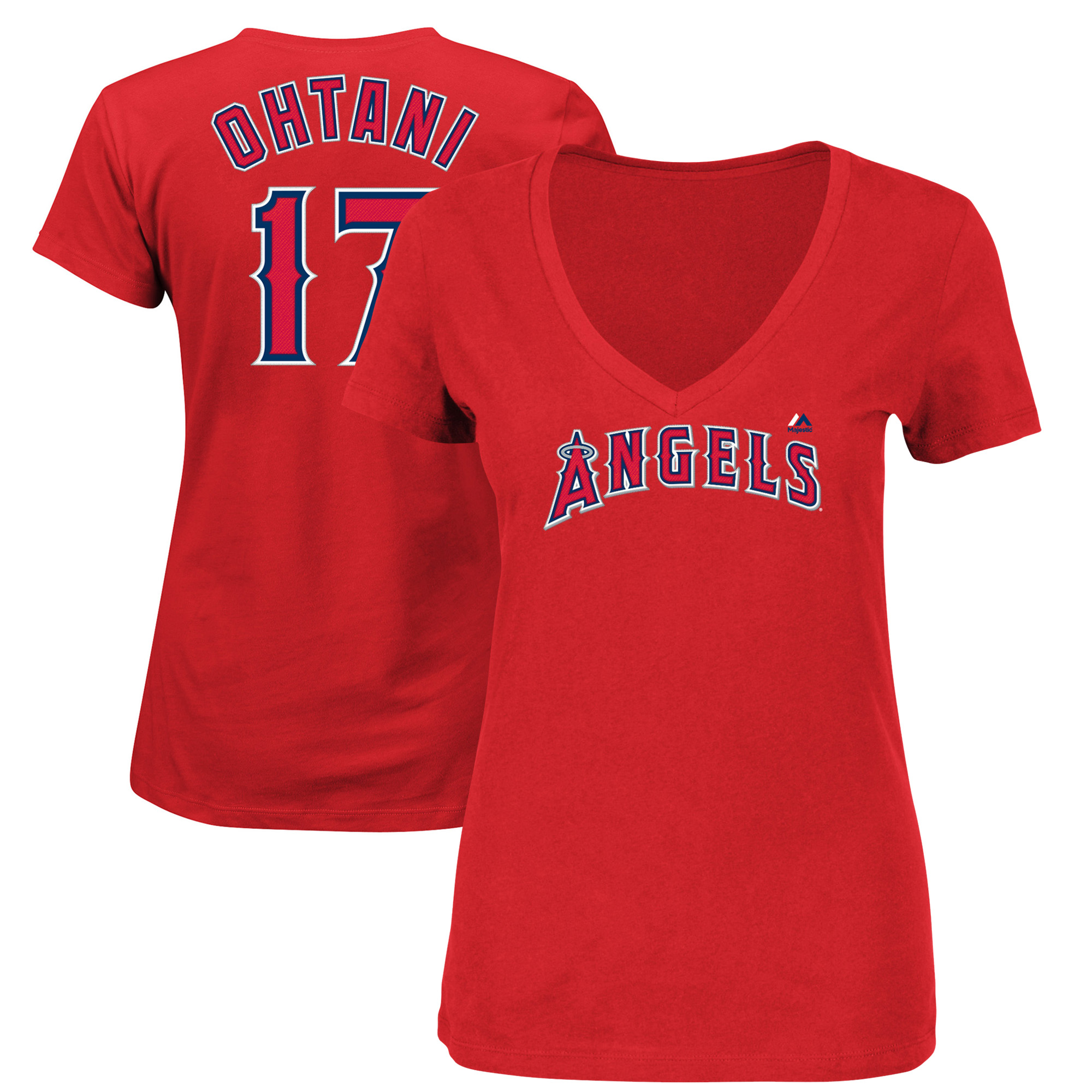 Shohei Ohtani Los Angeles Angels Majestic Women's V-Neck Name & Number T-Shirt - Red