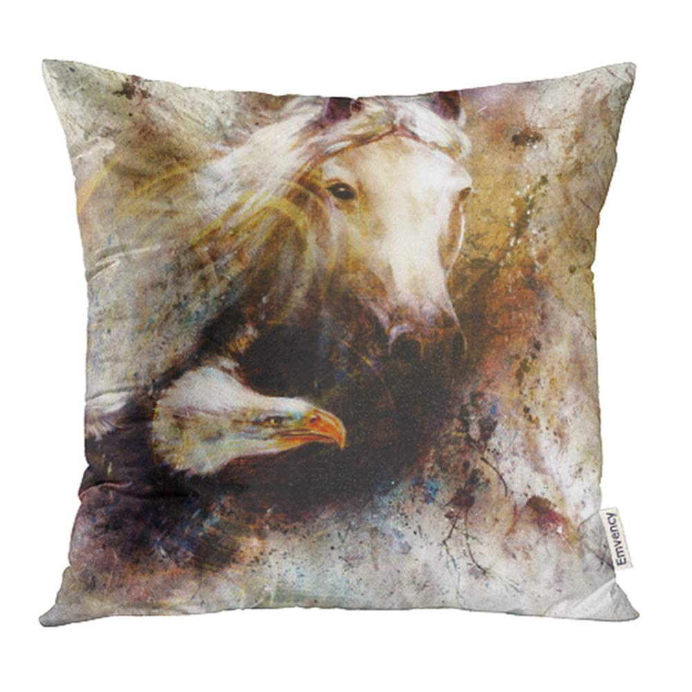 Beautiful White Horse Pillow Cover 18 x 18