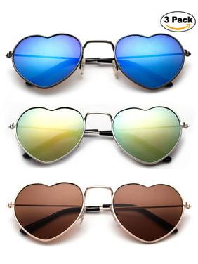 "Newbee Fashion - ""LOVE"" Kyra Kids Teens Juniors Heart Shaped Sunglasses Girls Heart Sunglasses Metal Slim Rimmed Retro Lovely Fashion Girls Sunglasses with Flash Lens 3 Pack"