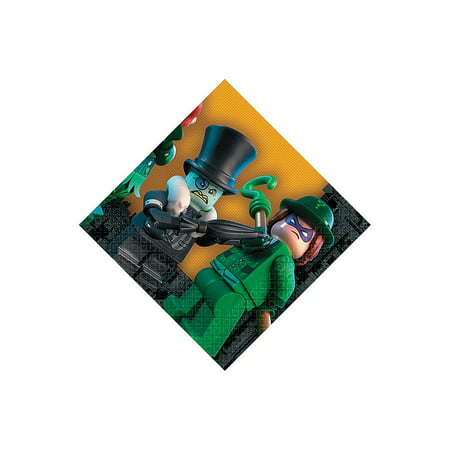Fun Express - Lego Batman Bev Napkins (16pc) for Birthday - Party Supplies - Licensed Tableware - Licensed Napkins - Birthday - 16 Pieces](Lego Napkins)