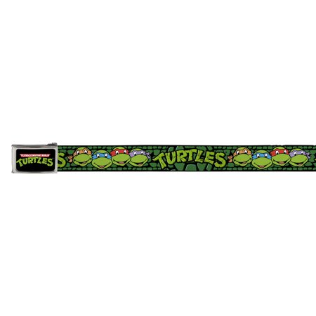 TMNT Cartoon TV Series Turtle Faces Close-Up Logo and Buckle Web Belt