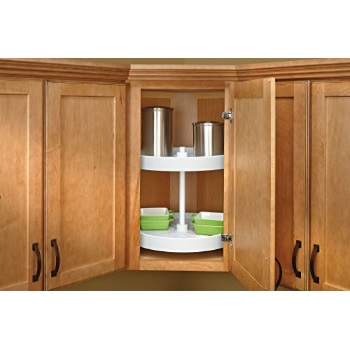 Rev-A-Shelf - LD-2062-18BM-11-1 - 18 in. White Polymer Full Circle Bottom Mount 2-Shelf Lazy Susan Set