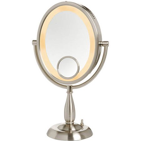 Jerdon Hl9510n 8 Inch Two Sided Oval Halo Lighted Vanity Mirror With 10x And