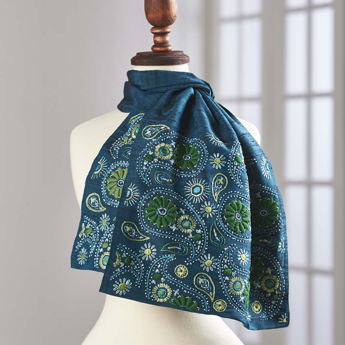 Herrschners® Silk Paisley Scarf-Teal Stamped Embroidery