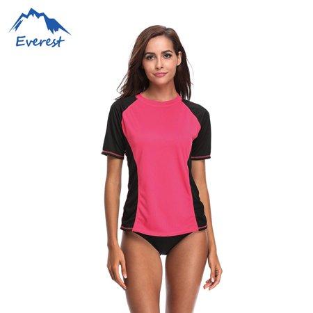Rash Guard Shirt (Reactionnx Bikini Cover Up Swimwear Shirt Beachwear Women's Rash Guard Short Sleeve Rashguard Sun Protection Shirt, Red )
