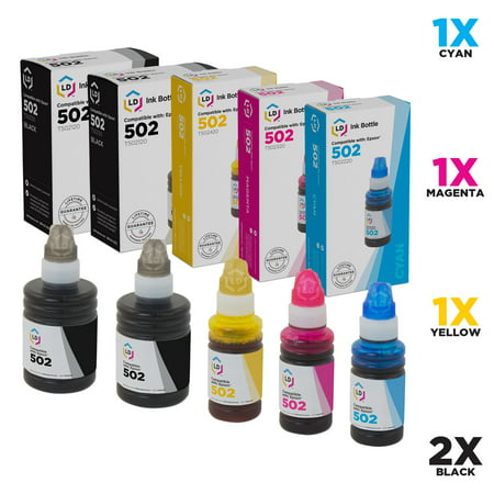 LD Compatible Replacements for Epson 502 Set of 5 Ink Bottles: 2 T502120-S Black, 1 T502220-S Cyan, 1 T502320-S Magenta & 1 T502420-S Yellow for use in ET-2700, ET-2750, ET-3700, ET-3750, ET-4750