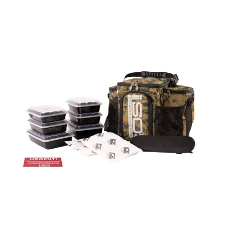 Isolator Fitness 3 Meal ISOBAG Meal Prep Management Insulated Lunch Bag Cooler with 6 Stackable Meal Prep Containers, 2 ISOBRICKS, and Shoulder Strap - Made in USA (Marine Wooodland) Marine Woodland ()