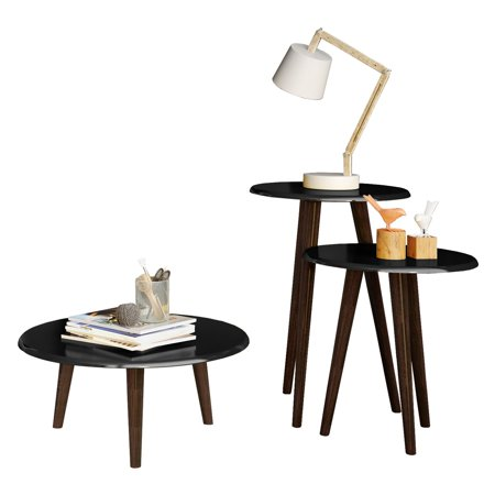 Carmine Mid Century - Modern End Tables - Set of 3 in Black with Solid Wood Splayed (Modern Set Table)
