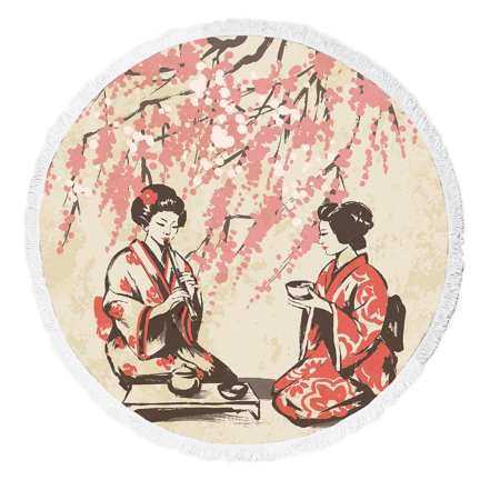 YKCG Traditional Japan Girls Having Tea Spring Oriental Cherry Blossom Branches Round Beach Towel Beach Mats Beach Shawl Beach Blanket with Tassels Beach Throw Towel Yoga (Cherry Blossom Round And Brown)