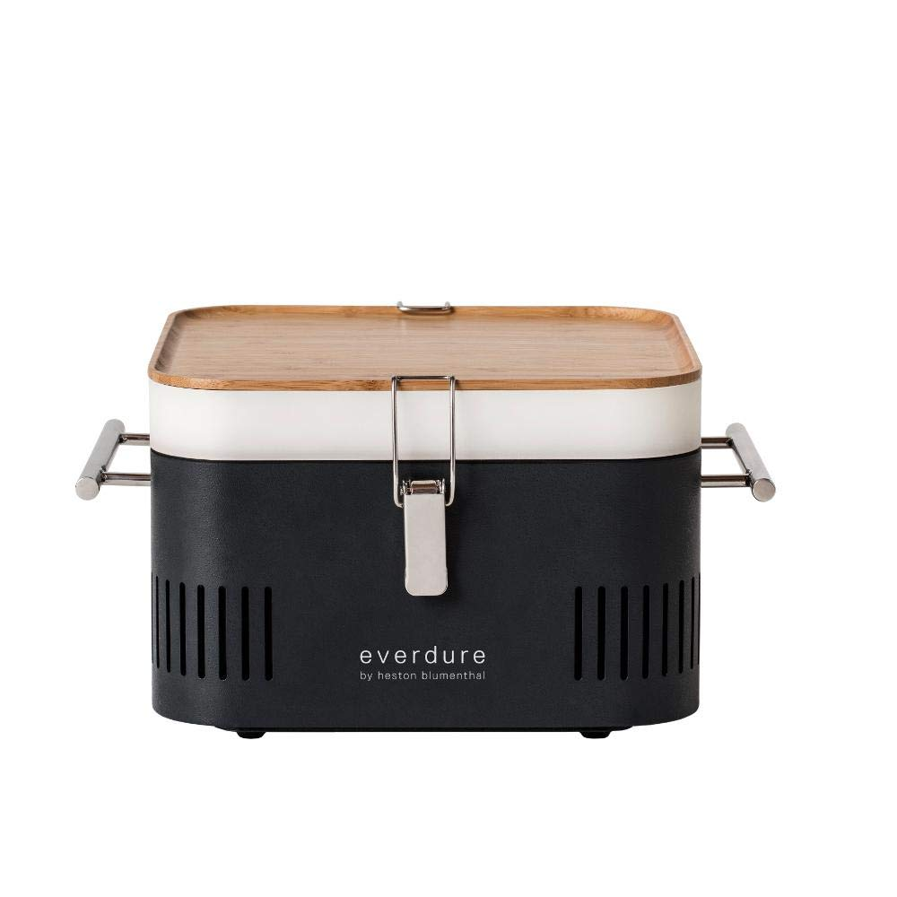 Portable Charcoal Grill Barbecue BBQ Tailgate Everdure Cube Graphite HBCUBEGUS by Everdure