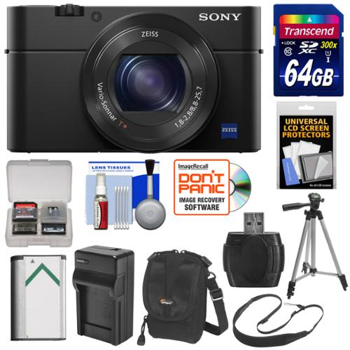 Sony Cyber-Shot DSC-RX100 IV 4K Wi-Fi Digital Camera with 64GB Card + Battery & Charger + Case + Tripod + Strap + Kit