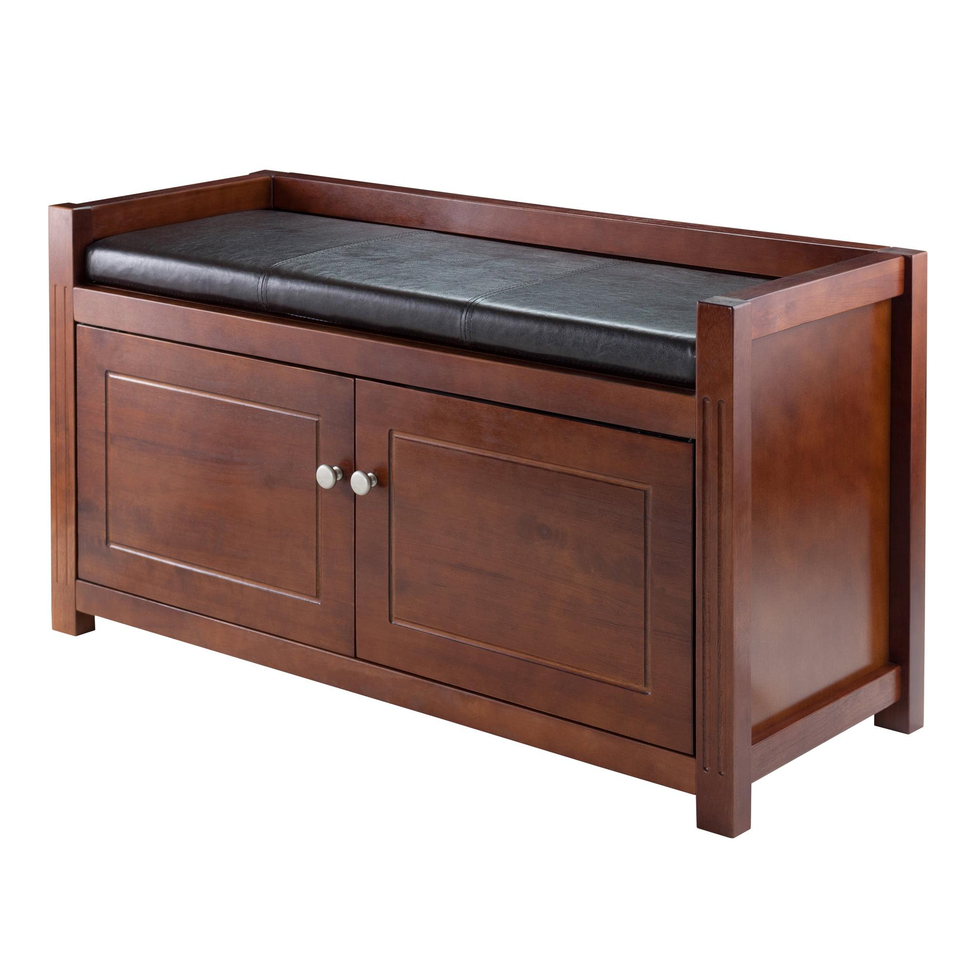 Winsome Wood Charleston 2pc Storage Bench Set w/ Cushion