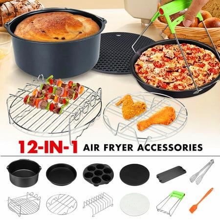 12Pcs/set 7'' Black Air Fryer Accessories Set Holder Grill Rack Cake Barrel Pizza Pan Chips Baking For Philips 3.2-6.8QT (Best Pizza Deals For Halloween)