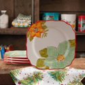 "4-Set The Pioneer Woman Poinsettia 8.5"" Salad Plate"