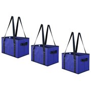 Reusable Grocery Bags Set Shopping Box with Reinforced Bottom Heavy Duty Collapsible Storage Boxes Bins Cubes (Set of 3) (Royal)