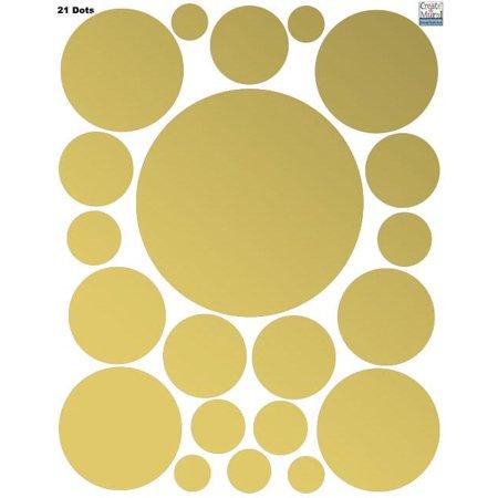 "Gold Polka Dot Decals (63 Wall Dots) Peel & Stick Wall Stickers 3"" - 6.5"""