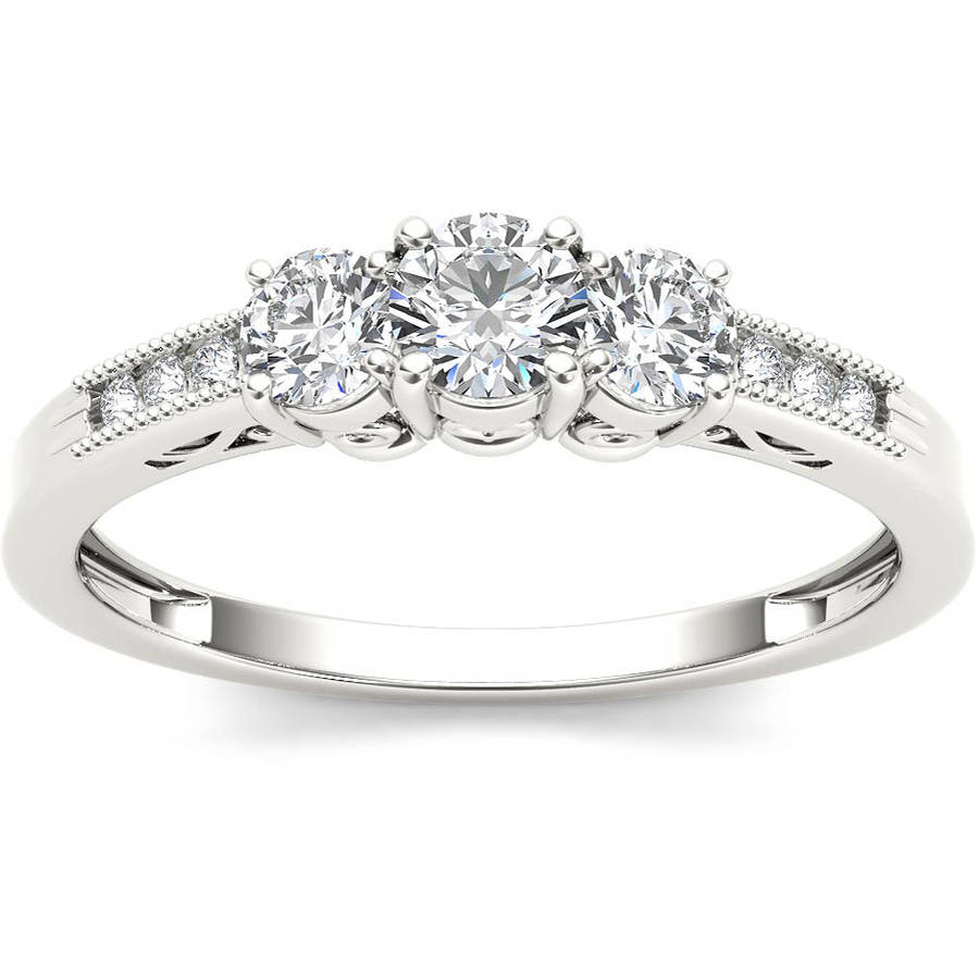 1/2 Carat T.W. Diamond Three-Stone 14kt White Gold Engagement Ring