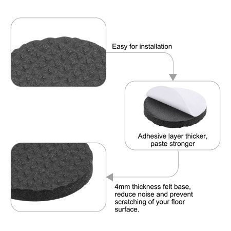 Furniture Pads Adhesive Rubber Pads 30mm Dia 4mm Thick Round Black 48Pcs - image 2 of 5