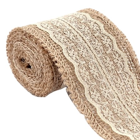 Burlap Hessian Craft Lace Ribbon Roll Trim Edge Off White 2.2 Yards for Wedding