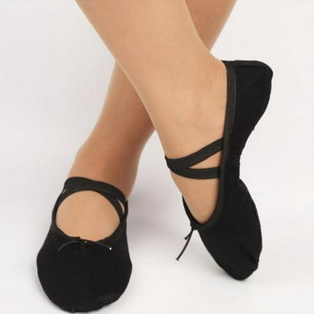 SNHENODA Ballet Shoes Ballet Flats Ballet Slipper Canvas Yoga Dance Shoe for Kids Girls and Women Child - Costume Ballet Slippers