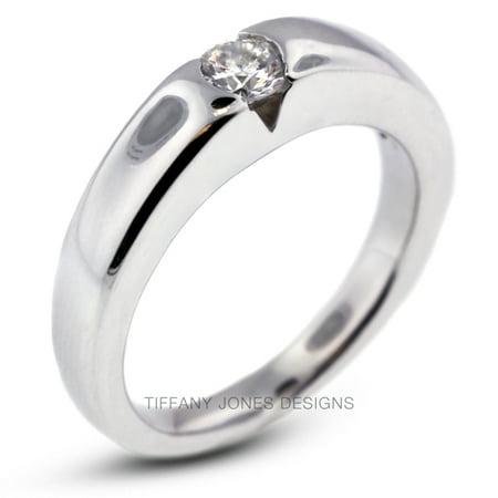 0.38ct F-VS2 Ex Round AGI Natural Diamond 950PL. Tension Engagement Ring 9.4gram
